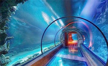 Moderna dezajno akrila akvario longa tunelo